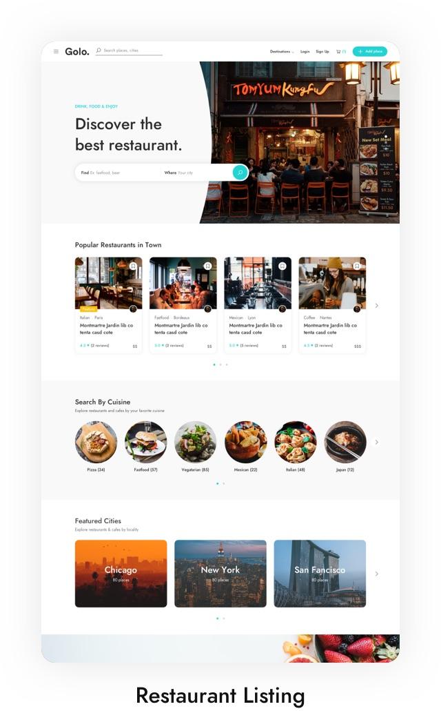 Tema do Laravel da lista de restaurantes